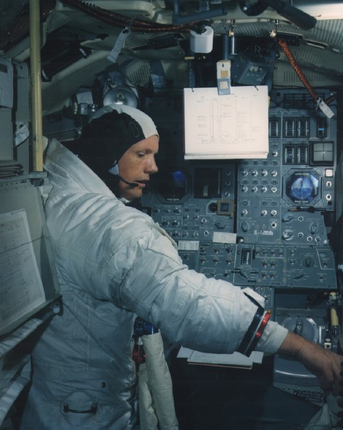 Neil Armstrong in the LM simulator