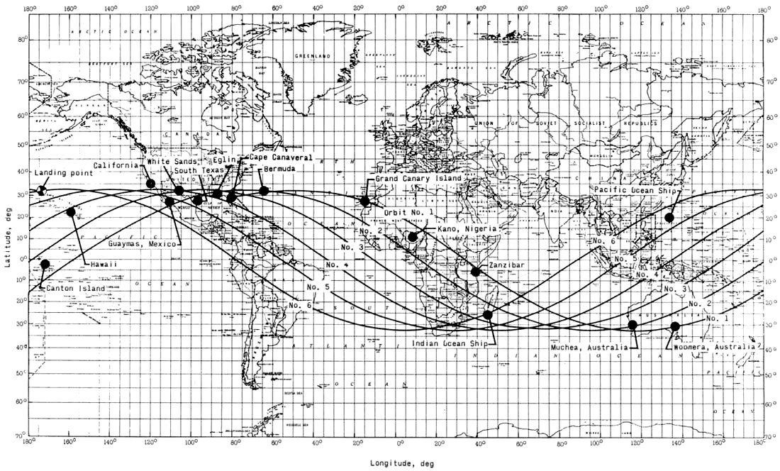 Mecury Mission Flight Paths